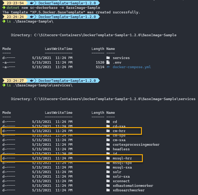 display of folder structure, specifically calling out CM Horizon and SQL Horizon directories